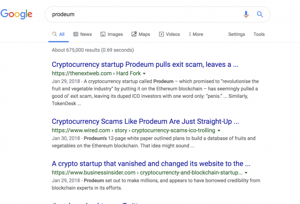crypto currency company negative scam links on google